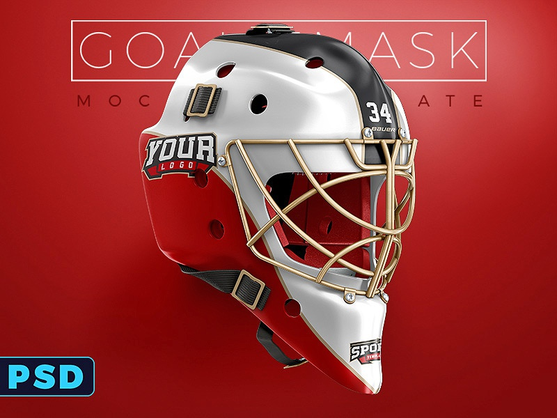 Hockey Goalie Mask PSD Mockup Template Nhl Sports Gear Freebie Free Psd
