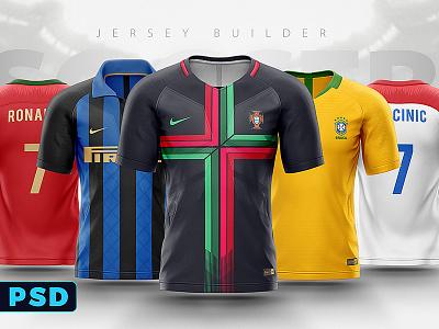 Football Soccer jersey Shirt Builder photoshop template vray 3d futbol world cup fifa psd template mockup football soccer