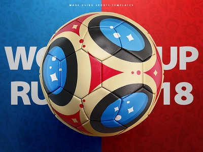 Russia world cup 2018 football concept template world cup vray template soccer psd mockup futbol football fifa 3d