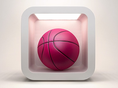 Dribbble IOS Icon dribbble icon ball basketball pink ball pink ios iphone ipad 3d vray 3dsmax
