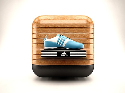 Sports Store IOS Icon sports store ios icon iphone ipad wood leather sneaker realistic corporate 3ds max vray