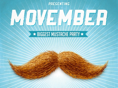 Movember Mustache Party 60s 70s advertisement clean concert dj event flyer gig grunge guys indie male health movember mustache mustache party night club november old party product flyer retro
