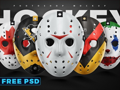 Free PSD Hockey face mask template sports psd 4k 8k vray 3d hockey mask mockup template horror movie friday13th jason voorhees halloween hockey face mask freebie psd free psd freebie