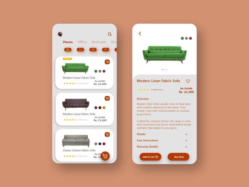 Furniture App UI uidesign app illustration furniture app branding ui design creative ui ux graphics design design