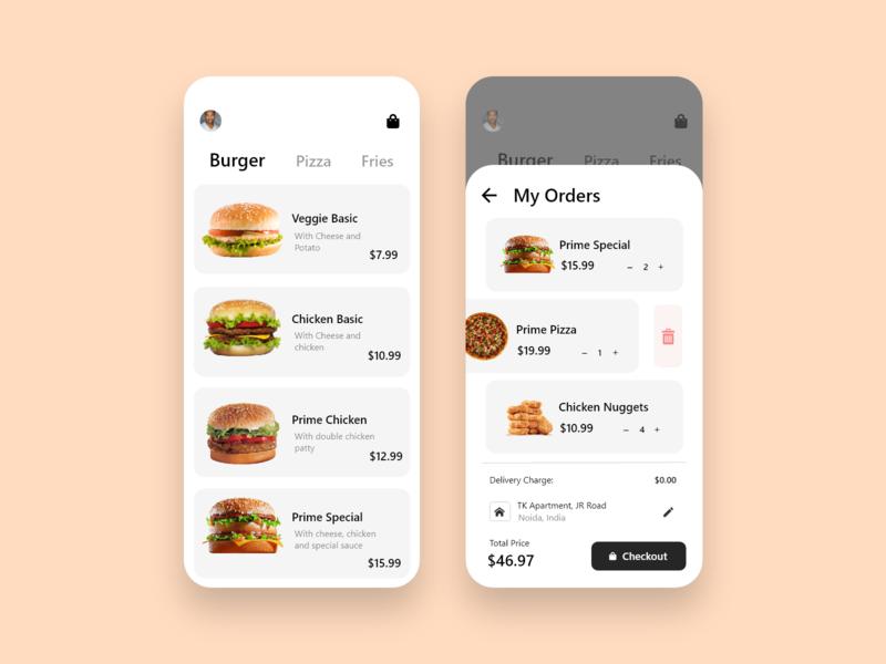 Food Ordering App UI app user interface user experience ui design ui graphics design ux design creative