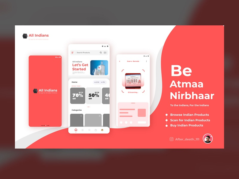 All Indians App ui web ecommerce app design app shopping vector icon ux branding ui logo design trend 2020