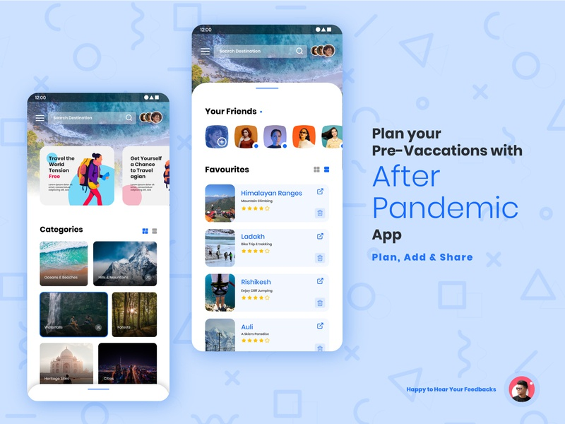 After Pandamic App Ui socialmedia app design pandemic latest trend innovation travel ux app branding logo creative design trend 2020