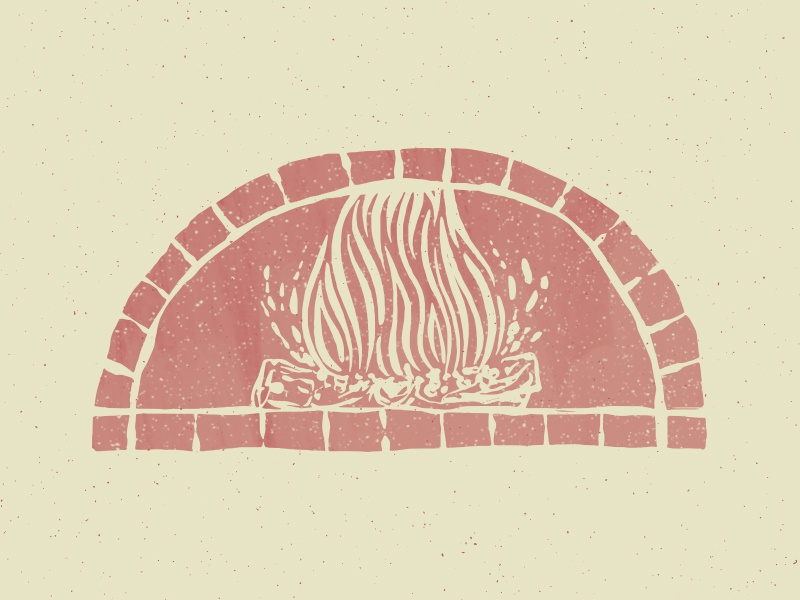 Wood Fired icon logo illustration food cooking oven pizza oven wood fire