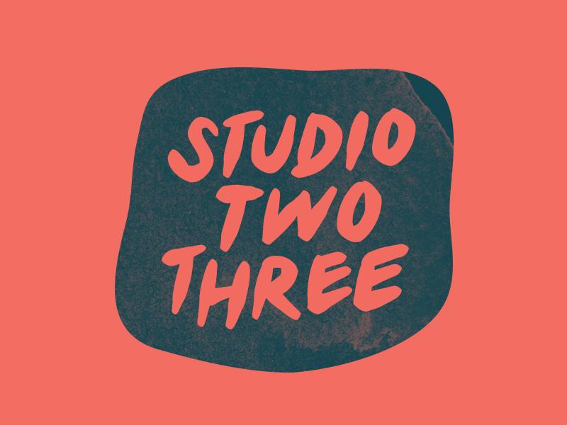 Studio Two Three print printmaking screenprinting mark logomark ink blob handdrawn type type logo