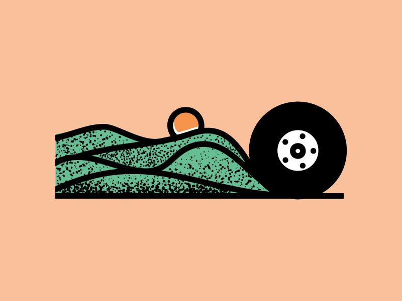 Van sun grunge mountains wheel logo illustration blue ridge van life van