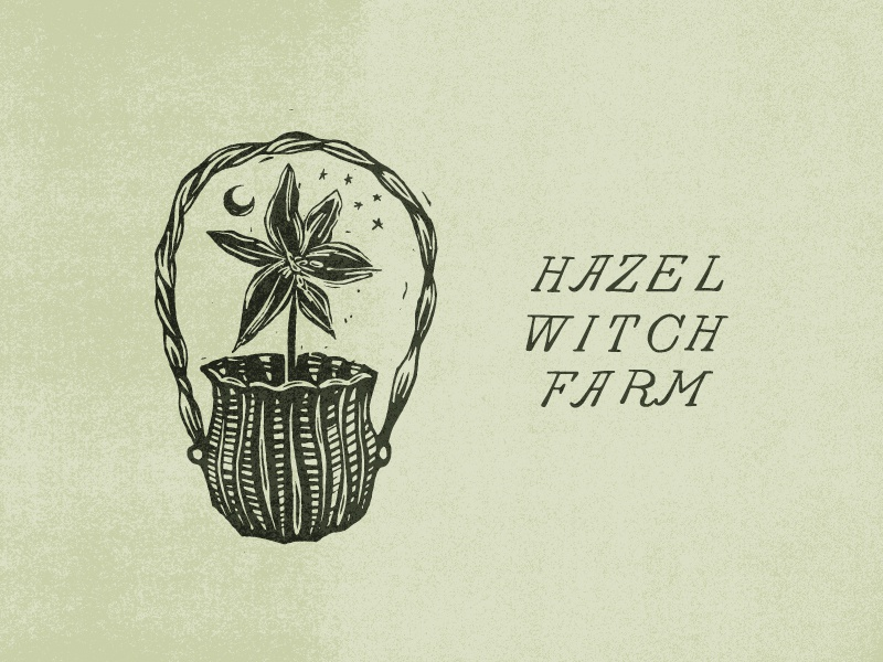 Hazel Witch Farm mark illustration linocut hand lettering logo
