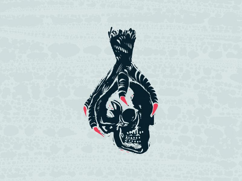 Hold On claw foot bird skull procreate illustration digital printmaking linocut woodcut