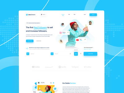 Social Media Management Clean Landing Page dashboard web design website clean landing clean landing page smm panel themes smm panel theme smm panel social media landing page uidesign saas landing page saas