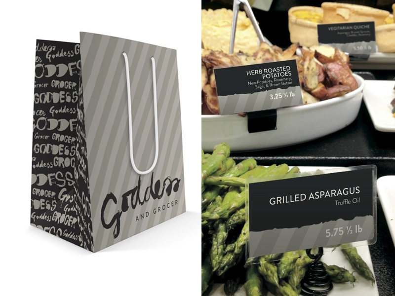 Goddess And Grocer Support packaging pop display hand rendered hand type moody