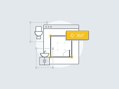 We are DigitalBridge toilet floorplan pastel clean simple sink bathroom flat outline vector ui illustration