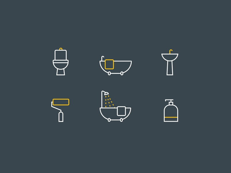 Bathroom Decor Icons design elegant play ux ui vector flat app web mark illustration modern minimal stroke outline clean simple iconography icons icon