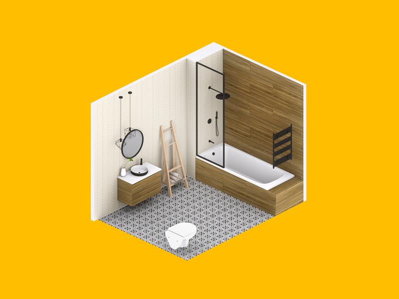 3D Bathroom visualization visual design visual art visual digitalbridge mirror sink bath tiles room render isometric bathroom 3d
