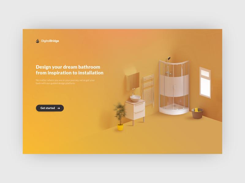 Homepage 3d yellows yellow bathroom ui web design webdesign web design landingpage landing website homepage
