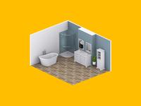 3D Bathroom Render digitalbridge digital manchester interior design interior isometric art isometric 3d rendering render 3d artist 3d art 3d render 3d