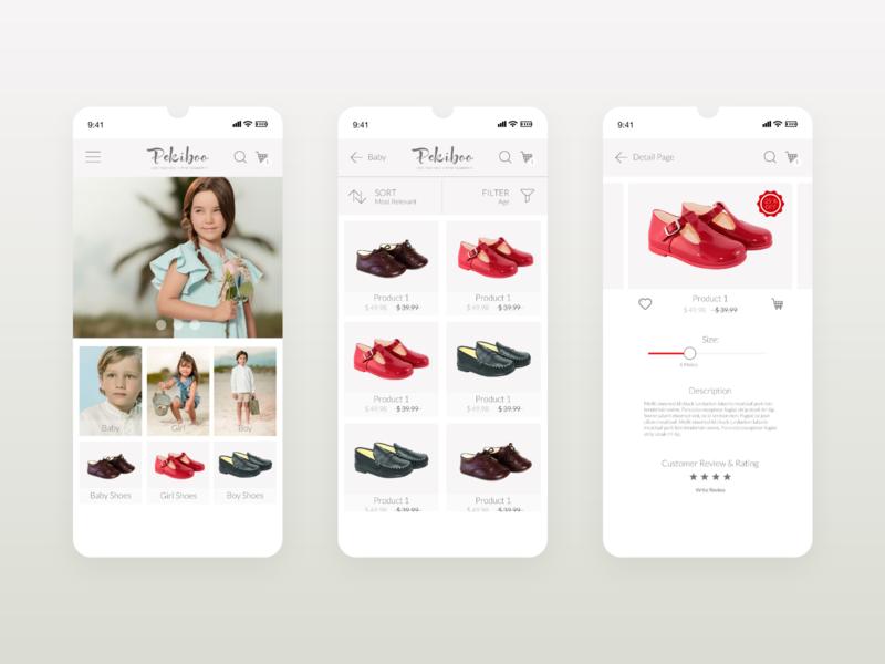 App Pekiboo wear shopping app ios design app