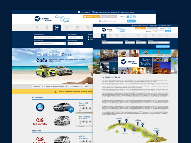 Web Distal Caribe tourism car rent tour hotel booking beach hotels cuba design