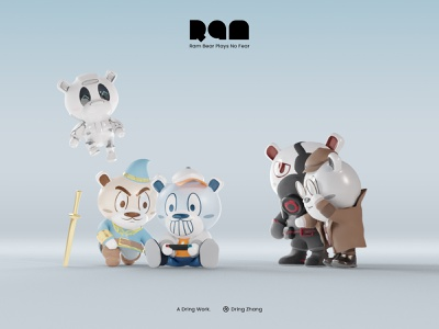 Bears Playing Games cycles render lowpoly ram bear graphic design character 3d design character design blender cute bear 3d