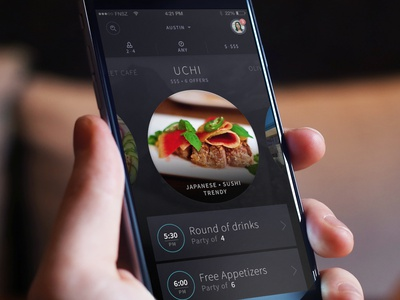 Restaurant App R1 hi-contrast app ui dark photography circle iphone restaurant