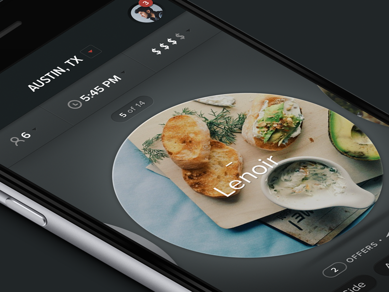 Restaurant App Final iphone6 minimal hi-contrast dark restaurant gradient ios iphone ui