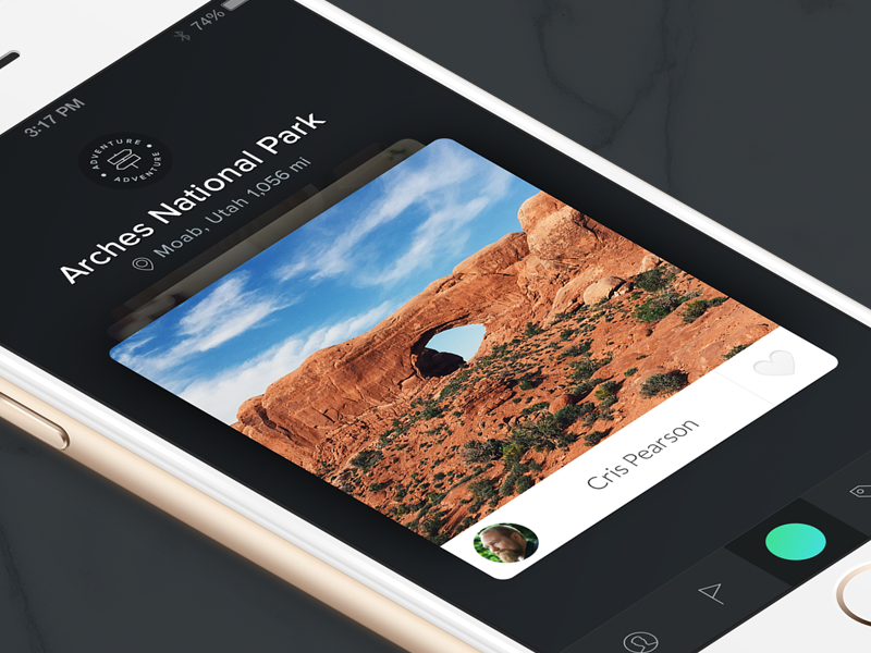 Explore with Better Guide adventure badge minimal guide cards ios iphone ui