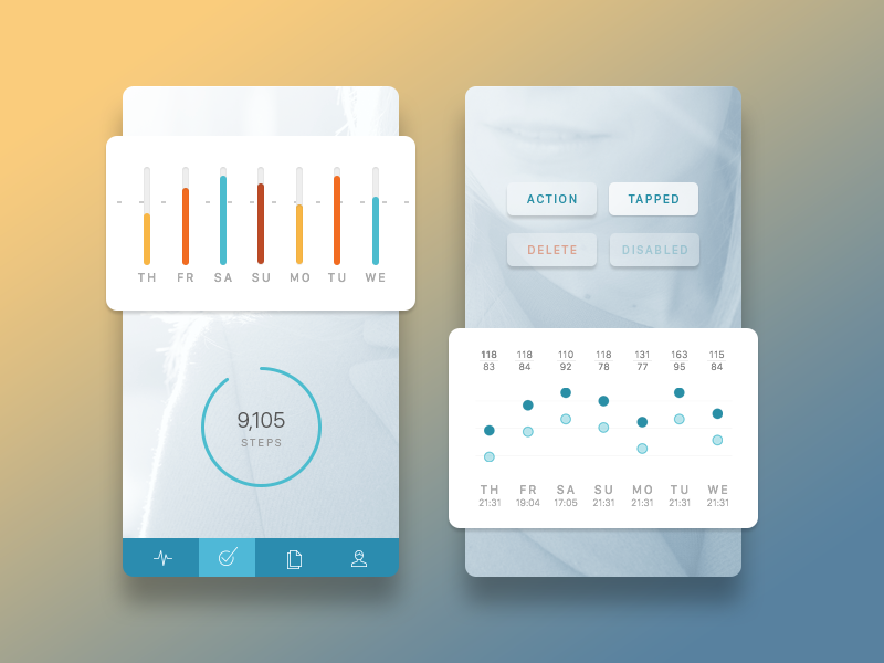 Health App Aesthetic Concept bars chart healthkit blue graph sleep health clean ios