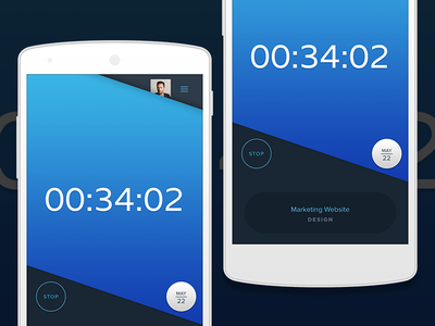Time Tracking Concept V2 nexus android simple clean timer ui