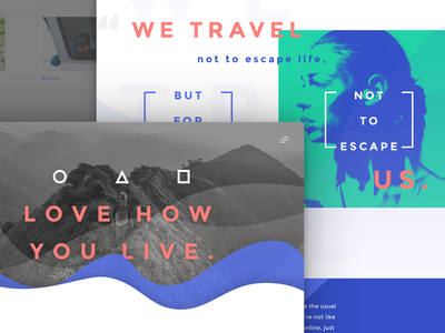 Love How You Live web store ecommerce composition flat website colorful exploration memphis typography design clean