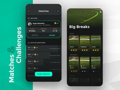 iOS Golf Game - Matches And Challenges game gradient golf app clean ios iphone ui