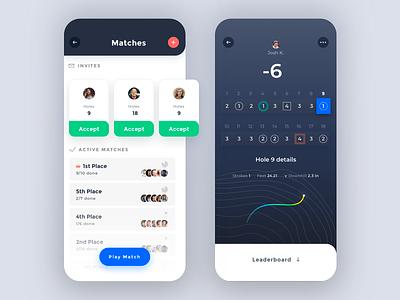 Light Mode + Interactive Scorecard cards ui cards ui ios app clean minimal golf game