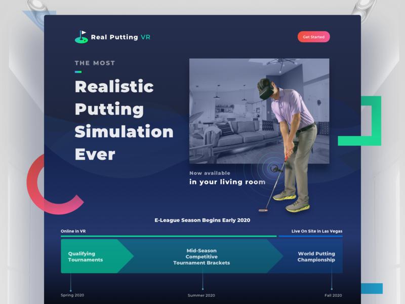 Real Putting VR Website webdesign website concept website quest oculus vr clean gradient ui