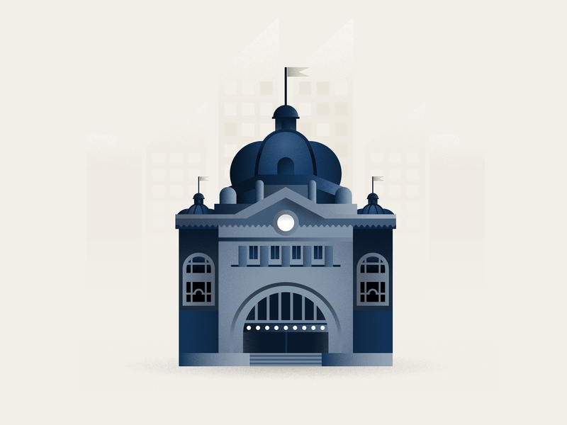 Flinders Street Station icon station flinders street australia melbourne minimal illustration vector flat design