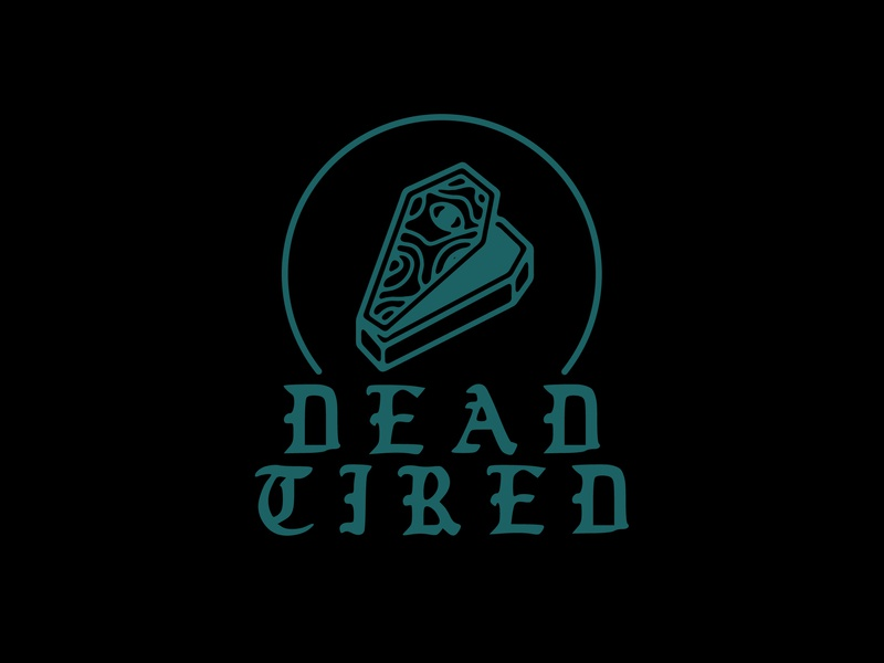 Dead Tired gothic coffin minimal logo vector illustration flat design branding