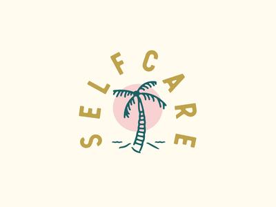 Self Care palm tree beach minimal logo vector illustration flat design branding