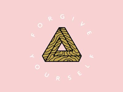 Forgive Yourself optical illusion minimal logo vector illustration flat design branding