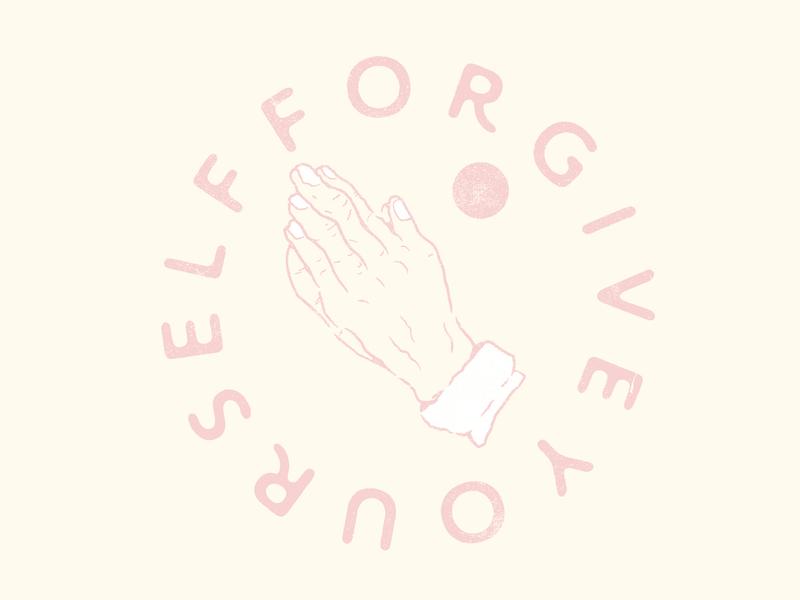 Forgive Yourself praying hands minimal logo vector illustration flat design branding