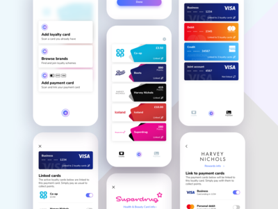 Loyalty wallet app, screens