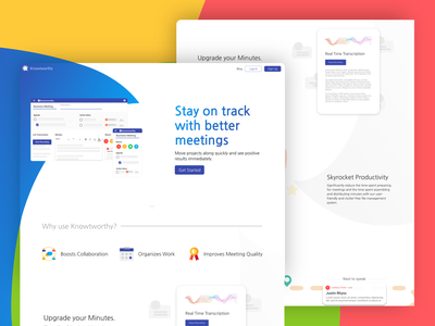 Knowtworthy Landing Page web design gradient flat clean colors design web ui  ux ui landingpage