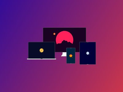Cosmic Computers gradient colors web design flat design clean illustration
