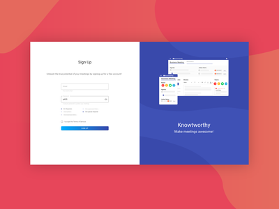 Sign Up Page Design - Knowtworthy onboarding signup materialdesign minimal illustration gradient ux ui web design colors flat design clean