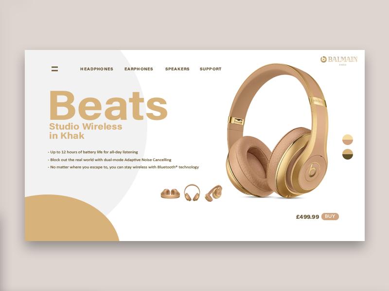 62affa22b9d Balmain x Beats Collaboration UI Design ad redesign ui balmain beats