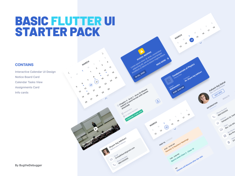 Flutter UI Assets component library cards flutter components app ux mobile ui mobile ui design nepal