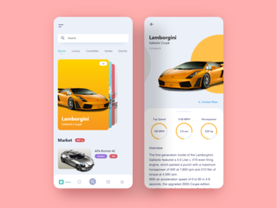 Car Showcase mobile UI