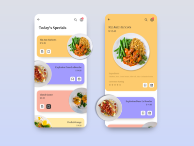 Restaurant Specials Menu UI