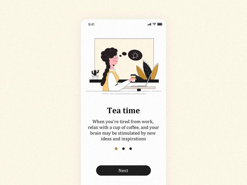 teatime work have a rest teatime coffee mobile app illustration