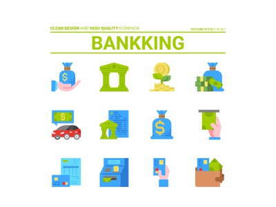 Bankking icon set walet hand car money coin atm bankking icon illustration